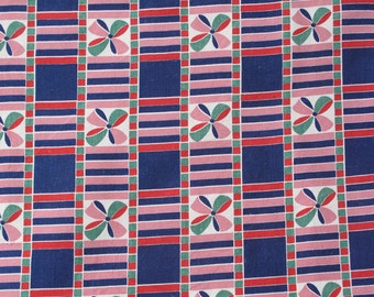 Blue and Pink Ribbon Vintage Fabric