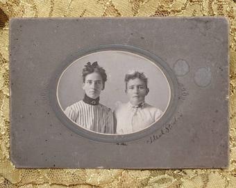 Beautiful antique cabinet photo of Edwardian fashion two ladies