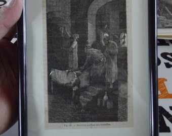 Old 1882 Engraving Staged Workers Blowing Glass Bottles antique engraving from 1882 staged workers blowing glass bottles