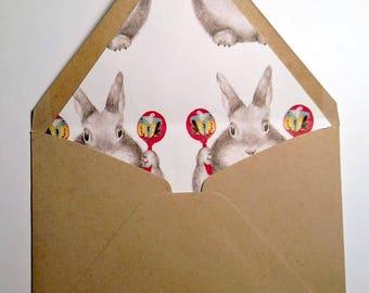 Rabbit lined envelopes