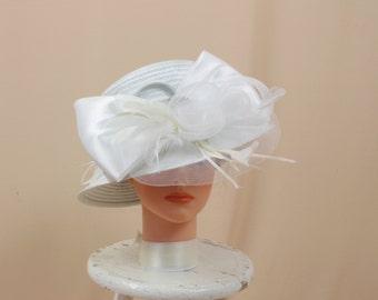 3ba7a03e75f White Hat   White Cloche Hat   Kentucky Derby Hat   Church Hat   Ascot Hat