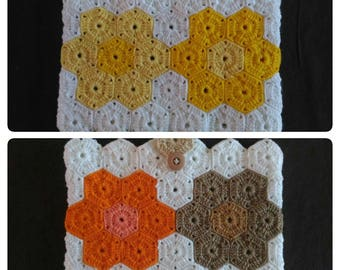 Handmade case-pouch-bag-cases for Ipad-Tablet-book, crocheted with yellow-orange-white wool. Flap with button