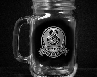 Monogram Mason Jar Mugs, Engraved Mug Gifts (m8mason)