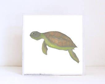 nautical nursery art,  beach nursery decor, sea turtle art for nursery- 5x5 art block- geometric nursery- kid room decor- art- redtilestudio