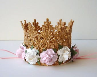 First Birthday Baby Gold Lace Crown - Pink and Ivory Flowers - Baby Gold Crown - Photo - First Birthday Cake Smash - Baby Crown Headband