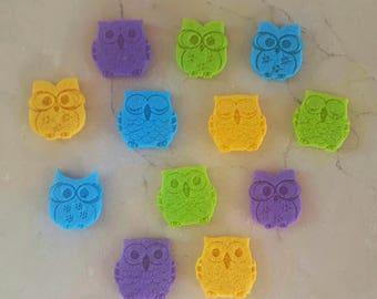 set of 12 owls owls felt 3 x 2.5 cm thickness: 3 mm