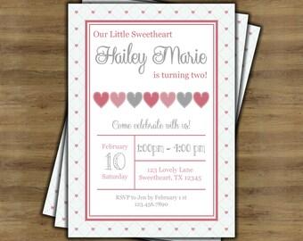 Little Sweetheart Birthday Invitation; Valentine Birthday Invitation; Little Sweetheart First Birthday Invitation; Heart Invitation