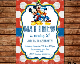 Mickey Mouse Birthday Invitation, Mickey Mouse Birthday, Disney Invitation, Mickey Birthday Invitation, Mickey Mouse