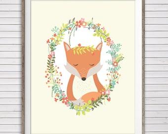 """Fox Nursery Art, Instant Download, 8x10"""" & 11x14"""", Fox Nursery wall art, Fox nursery, Woodland nursery art, fox wall art, wreath nursery art"""