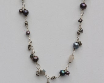 Gray Freshwater Pearl Charm Necklace