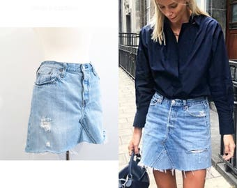 Vintage Re-MADE DENIM MINI Skirt/ 34 inch waist/ size medium-large