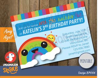 Personalized Li'l Rainbow & Friends Birthday Party Invitation PRINTABLE / Rainbow / Kawaii Rainbow / Kawaii Cloud / Birthday Invite / Kids