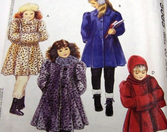 Vintage 90's McCall's 5085 Girl's Coats Hooded Scarf Muff Complete Size 4-6 OR 10-14