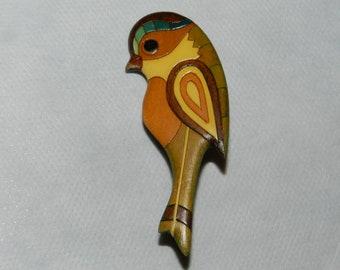 Brooch  Bird vintage parrot  wood Hand Carved