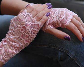 Lace Gloves for Women and Teens in Light Pink. Ready to ship.