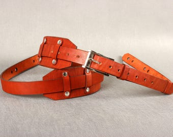 Leather Guitar Strap. Handmade for Acoustic and Electric or Bass guitar natural leather strap, belt, sling. Handstitched Harness.