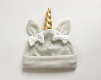 Baby unicorn hat Oatmeal