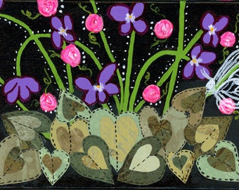 violets painting, purple violets, pink roses, green hearts, white butterfly, mixed media collage , 5 X 7 painting
