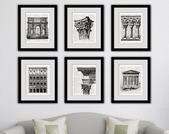 Ancient architecture dictionary art prints. Great classic look for any room. A collection of six art prints.Buy 4 get 2 FREE!