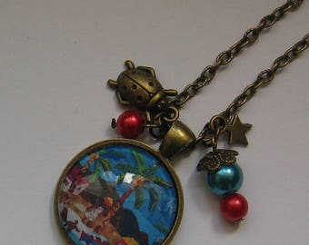 Necklace cabochon 25mm jewel * African landscape *.