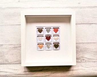 Fused Glass, Heart Wall Art, Valentine's Gift, Heart Decor, Heart Frame, Glass Art, Glass Heart, Wedding, Anniversary, Love Hearts, Heart