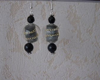 Earrings black pearls and gold aventurine