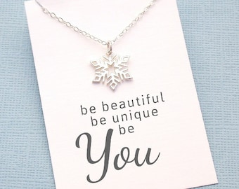 Silver Snowflake Necklace | Be Unique, Be You, Christmas Gift, Winter Wedding, Gift for Her, Bridesmaid Gift, Bridesmaid Ideas | Silver |X02
