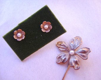 Vintage Demi Parure of Floral PIerced Earrings and Stick Floral Pin