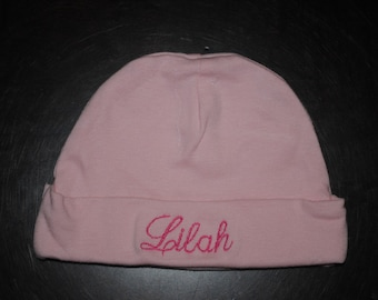 Personalized Embroidered Mongrammed Beanie Cap Hat Baby Girl or Boy
