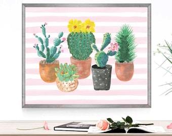 Cactus print Cactus printable Cactus art print Cactus art printable Wall art Cactus poster Cactus watercolor Potted cactus Cactus digital