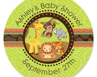 24 Safari Jungle Circle Stickers - Personalized Baby Shower and Birthday Party DIY Craft Supplies