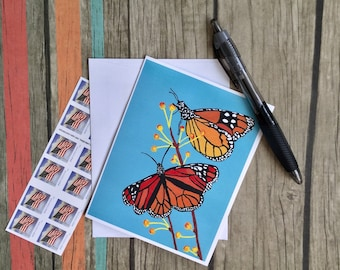 Butterfly Note Card - Butterfly Card with Envelope - Nature Card - Card Handmade - Blank Card - Mini Art Card - Custom Note Card - Notecard