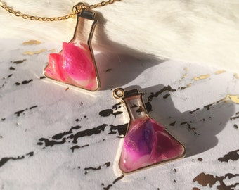 Kawaii Experiment Crystal Erlenmeyer Flask Necklace