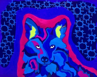 Coyote Gouache Painting, Multicolor Coyote Painting, Coyote Wall Art, Modern Coyote Gouache Painting