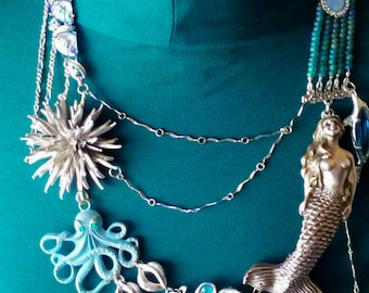 Repurposed Vintage Brooch Necklace Under The Sea