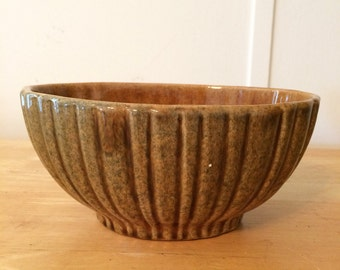 Vintage Brown Ribbed Oval Haeger Planter Bowl