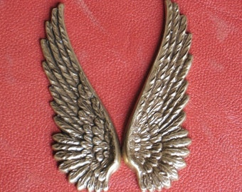 6 Wings FREE Drilled Hole upon Request Lrg. 52mm Metal stampings Charms Pendants Antique Brass Finish, 2 Inches long,