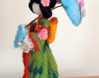 Art doll Geisha doll Waldorf inspired Needle felted geisha Home decoration Sakura flower