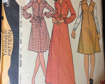 McCalls 3305 - 1970s Pullover Dress or Jumper has Pointed Collar and Button Front Detail - Size 14 Bust 36