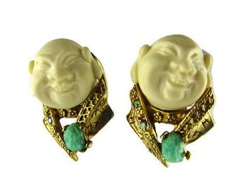 HAR Buddha Clip Earrings/Happy Smiling Hotei Buddha /HARGO Creations Jewelry/ Peking glass Cabochons/ Ruby Red Rhinestones