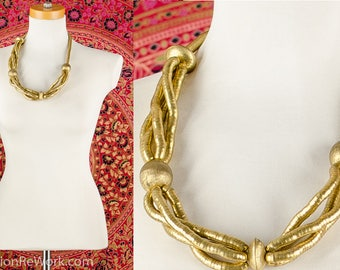 Vintage 60's ASYMMETRIC Gold Tone Beaded Twisted Rope Necklace