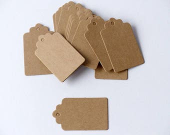 20 kraft Paper Pendant labels Small brown