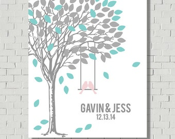 Custom Wedding Guest Book Sign - Wedding Gift - Wedding Signs Canvas - Wedding Tree - Wedding Guest Book Alternative - Bridal Shower Gift