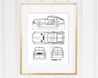Car blueprints etsy triumph gt6 blueprint classic car decor triumph spitfire car blueprints printable art malvernweather Images