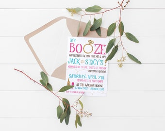 Printable Let's Booze Stock the Bar Party Invitation | Engagement Party | Stock the Bar Party Invite | Wedding Shower Invitation | Wedding