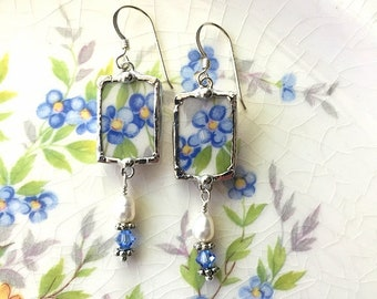 Broken china jewelry earrings, antique blue floral forget me not, with crystals, pearls, sterling wires, Dishfunctional Designs