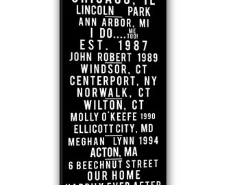 About Us, the couple TRANSIT Bus Roll Sign Places we have been 20x40 inch canvas