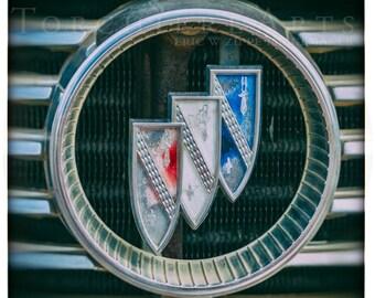 Buick Emblem Photography, Classic Car Photography, Vintage Car Art, Classic Car Wall Art, Automobile Art, Car Decor