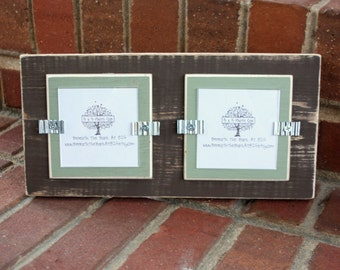 """Picture Frame - Holds 2 - 3"""" x 3"""" Photos - Distressed Wood - Brown & Sage Green"""