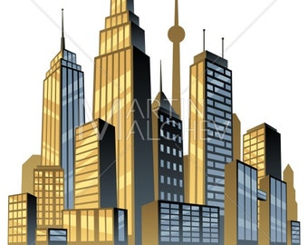 City - Vector Cartoon Clipart Illustration. cityscape, skyline, metropolis, downtown, center, comic book, art deco, skyscraper, building,
